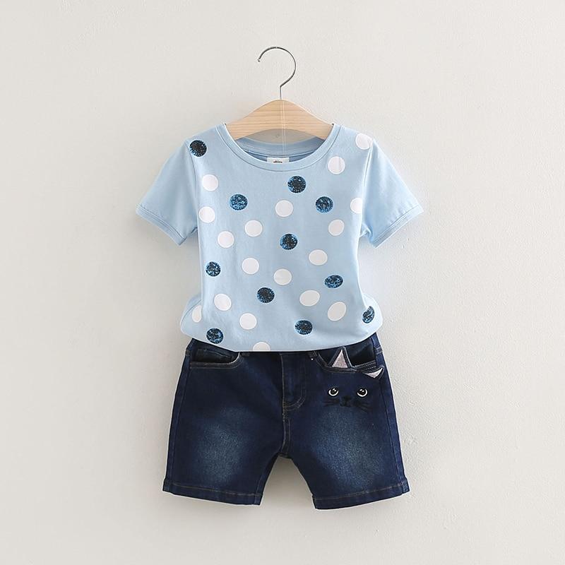 New Arrival Baby Girls Summer Clothing Sets Girls Short Sleeve Polka Dot T-shirt and Denim Shorts Girls Summer Clothing Suit