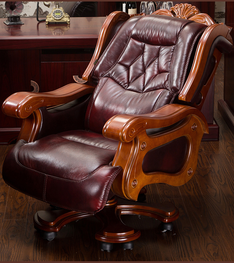 The boss chair is real leather can lie. High-grade large class chair. Cow skin thickening massage office chair swivel chair.015 240320 home office can lie down high density inflatable sponge 360 degrees can be rotated computer chair boss massage chair