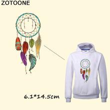 ZOTOONE Colorful Feather Dreamcatcher Heat Transfers Cheap Cartoon Clothes Stickers Iron On Embroidery Patch For Clothing DIY D