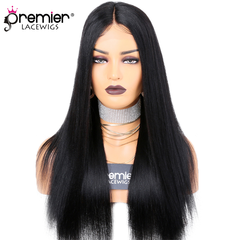 PREMIER Middle Part Lace Wig,Yaki Straight,Indian Remy Hair 150% Density