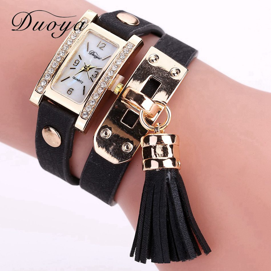 Duoya Watches Women Fashion Luxury Gold Watch Women Bracelet Watch Square Diamond Quartz Wristwatch Tassel Dress Gift Clock weiqin new 100% ceramic watches women clock dress wristwatch lady quartz watch waterproof diamond gold watches luxury brand
