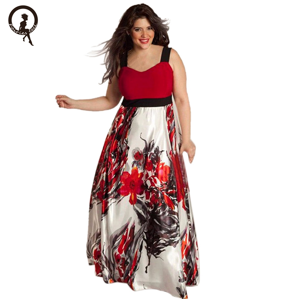 Fairies tell Super Large Plus Size Floral Prints Long Tank Dresses Women Clothing Summer Style Casual Maxi Vestido Oversize EY11
