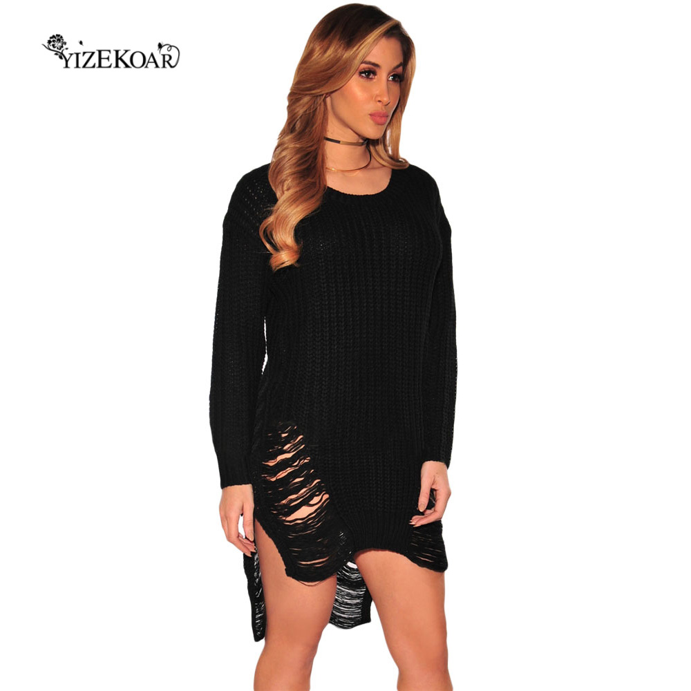 2017 Sexy Frayed White Knitted Sweater Women Jumper Long Sleeve ...