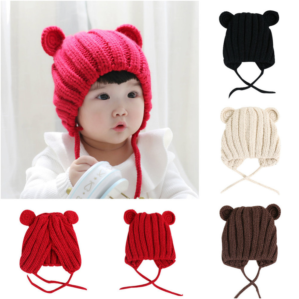 Babys Knitted Hat Cute Bear Ears Hat Soft Cotton Baby Beanie Solid Color Warm Winter Hat For Baby Girls Boys Knitted Hats