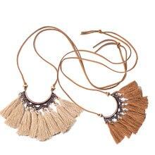 c35202668f5a Moda estilo étnico hueco flor collar de Bohemia Vintage borla cadena  mujeres regalo de la joyería