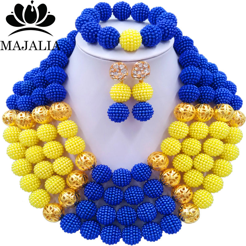 Fashion Majalia african jewelry set yellow and blue plastic Nigeria Wedding african beads jewelry sets CX-035