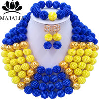 2f0611ce4c65 Fashion Majalia African Jewelry Set Yellow And Blue Plastic Nigeria Wedding  African Beads Jewelry Sets CX. Moda conocida majalia Africana joyería  conjunto ...
