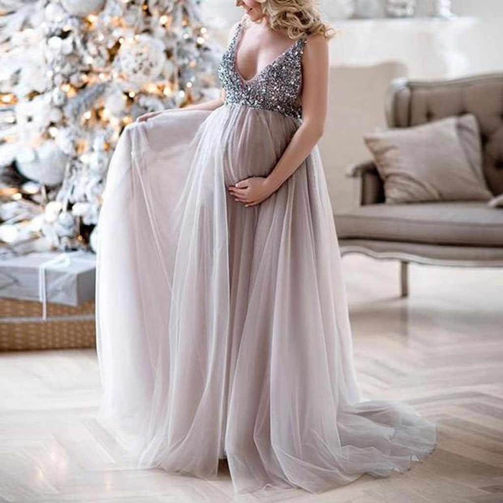 520014683cefd Detail Feedback Questions about Sexy Women Pregnant Sling V Neck Sequin  Cocktail Long Maxi Prom Gown Dress Lace Maternity Dress Fancy summer  pregant Dress ...