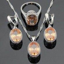 Ashley orange yellow cubic zirconia pendientes de gota colgante de collar de sistemas de la joyería para las mujeres de color de plata anillos caja de regalo