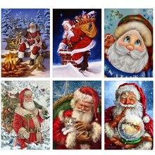 Full Round Diamond 5D DIY Painting Santa Claus Cross Stitch Mosaic Christmas Decoration Gift