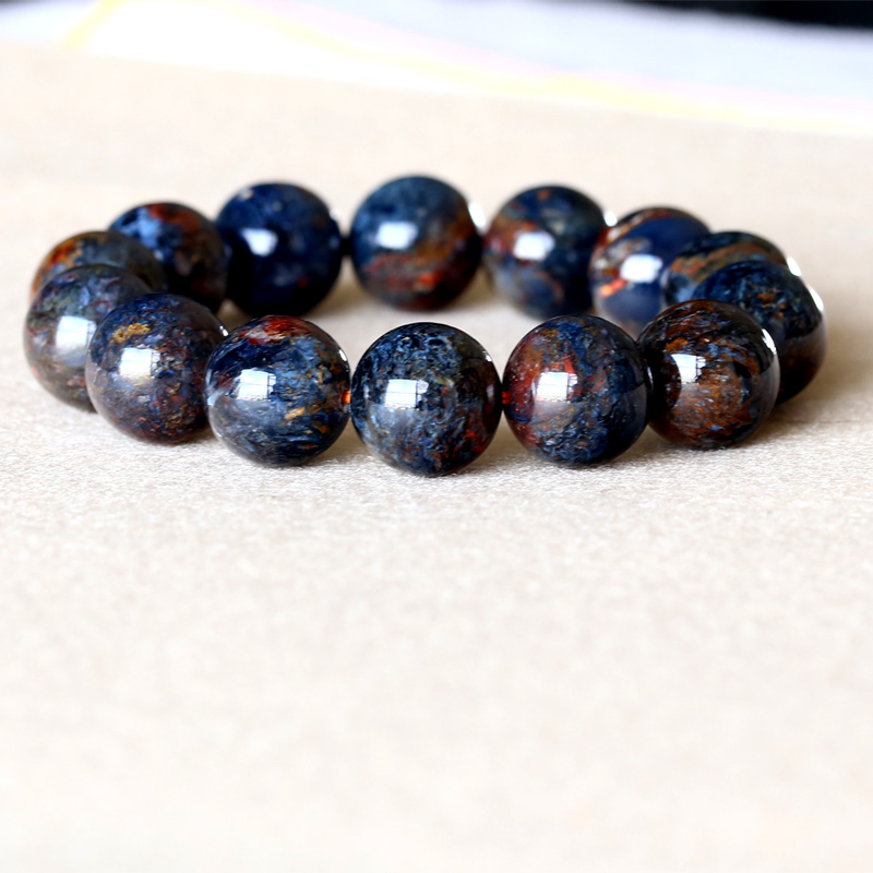 AAA High Quality Genuine Natural Gold Blue Pietersite Namibia Stretch Men's Bracelet Round Big Beads 15mm 05050 genuine natural blue gold pietersite namibia stretch men s bracelet round beads 10mm 05037