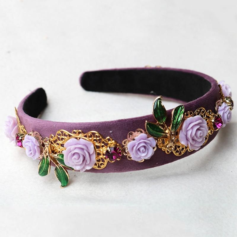 Trendy Resin Purple Flower Hair Accessories Crystal Jewelry Metal Carving Velvet Baroque Crown Hairband Bridal Tiara Women Gift