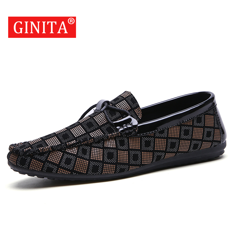 GINITA Fashion Loafers Shoes For Men PU Leather Slip On Casual Shoes Brand New 2019 Men's Driving Shoes Male Footwear Flats