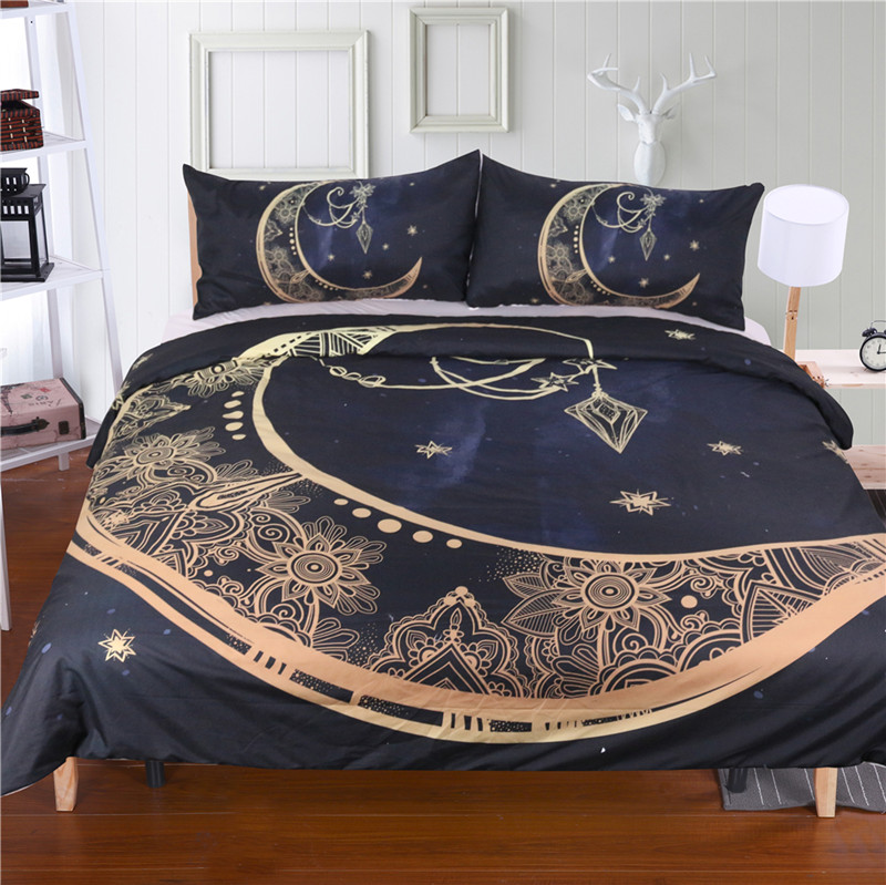 FANAIJIA black Moon god 3d bedding sets king size boho printed 3d bohemian duvet cover set with Pillowcase queen Bedlinen