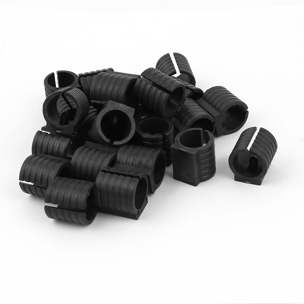 24 Pcs Black Plastic 19mm Dia Round Base U Shape Chair Floor Glide