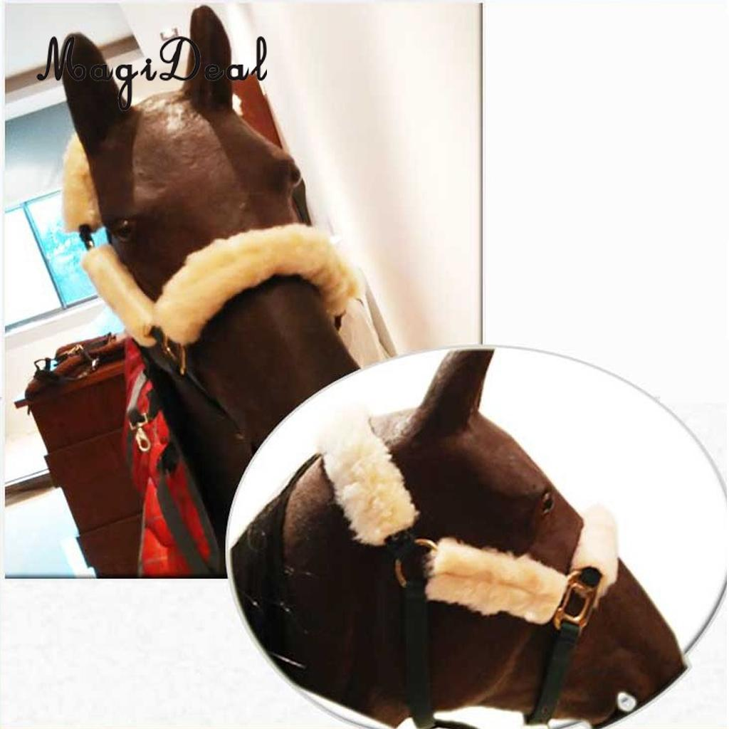 4pcs Soft Fleece Horse Noseband Cover Halter Protection Strap for Horse Crown Noseband Cheeks ...