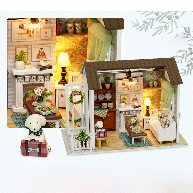 LED Light Miniature Furniture Doll House Dollhouse DIY Kit Wooden House Puzzles Model Toy for Kids Birthday Christmas Gifts (7)