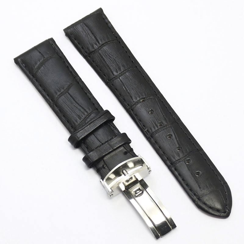 18/20/22mm Durable Black Genuine Leather Deployant Watch Band Strap Butterfly Buckle Bracelet Watchbands watch band strap butterfly pattern genuine leather deployant buckle bracelet brown black watchbands 18 24mm