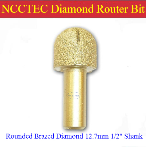 NCCTEC Rounded diamond vacuum Brazing brazed router bit with 1/2 Shank FREE shipping | marble, granite slabs edge WET tools