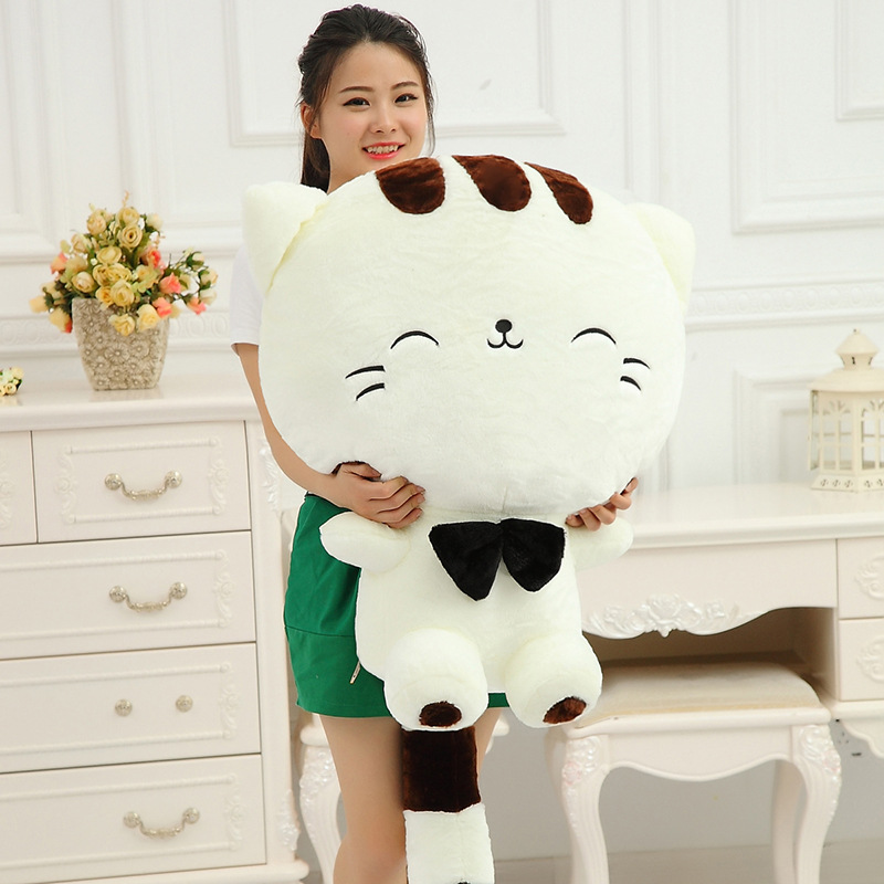 Children's 50cm Cute Big Face Smiling Cat Stuffed Plush pillow Toys Soft Animal Dolls cushion girls' Birthday/Valentine Gifts hot sale 60cm famous cartoon totoro plush toys smiling soft stuffed toys high quality dolls factory price in stock