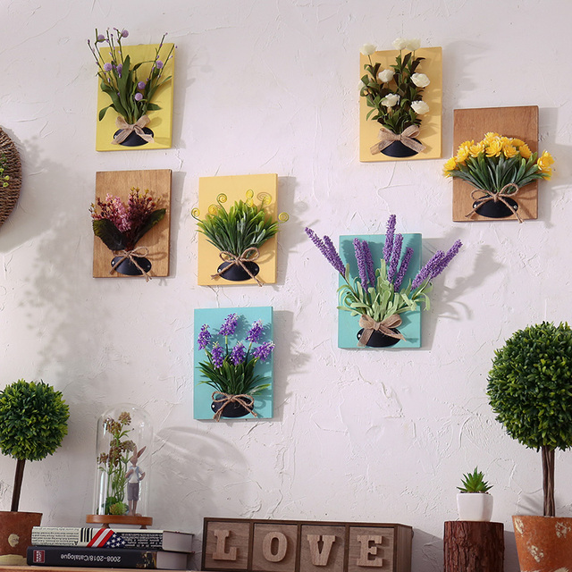 Handmade Artificial Succulent Plant Wooden Board Wall Hanging Imitation Flowers Living Room Home Decor Ornaments