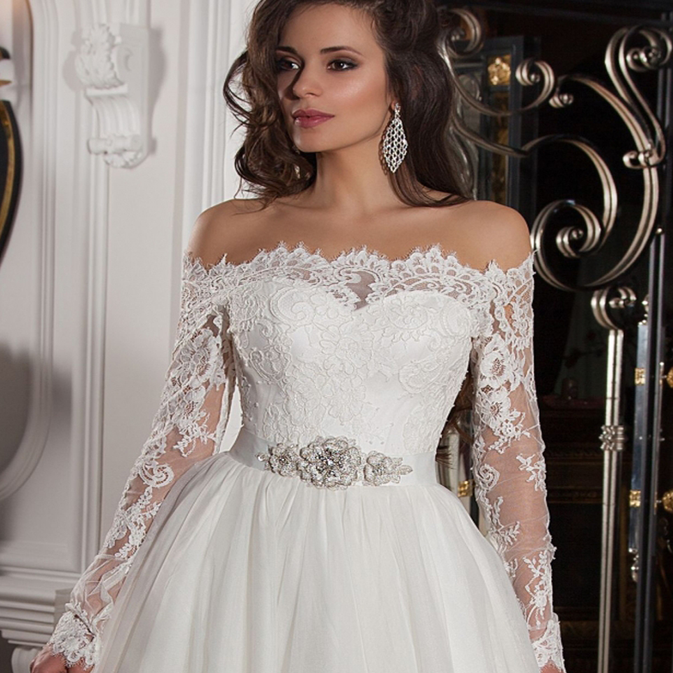 Vintage Lace Long Sleeved Wedding Dresses Ball Gown Bridal Gowns ...