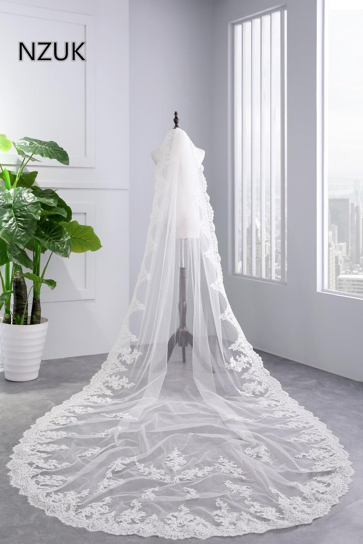 NZUK White Ivory Cathedral Wedding Veils Long Lace Edge Bridal Veil With Comb Wedding Accessories Bride Mantilla Wedding Veil