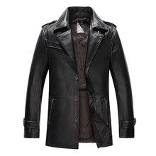 Genuine Sheepskin Leather Jacket with suit collar High Quality Warm jacket 9908