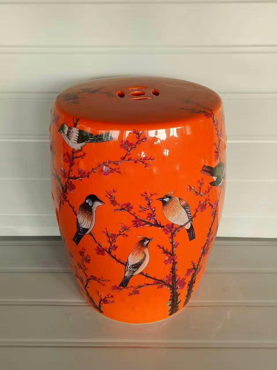 China Jindezhen Dressing Ceramic Garden Stool Chinese Ceramic Drum Stool  Bathroom Porcelain Garden Bar Stool(
