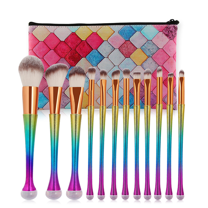 12pcs Professional <font><b>Mermaid</b></font> <font><b>Makeup</b></font> <font><b>Brushes</b></font> Eyebrow Foundation Powder <font><b>Brushes</b></font> Cosmetic Concealer <font><b>Makeup</b></font> <font><b>Brushes</b></font> Tools <font><b>with</b></font> <font><b>bags</b></font> image