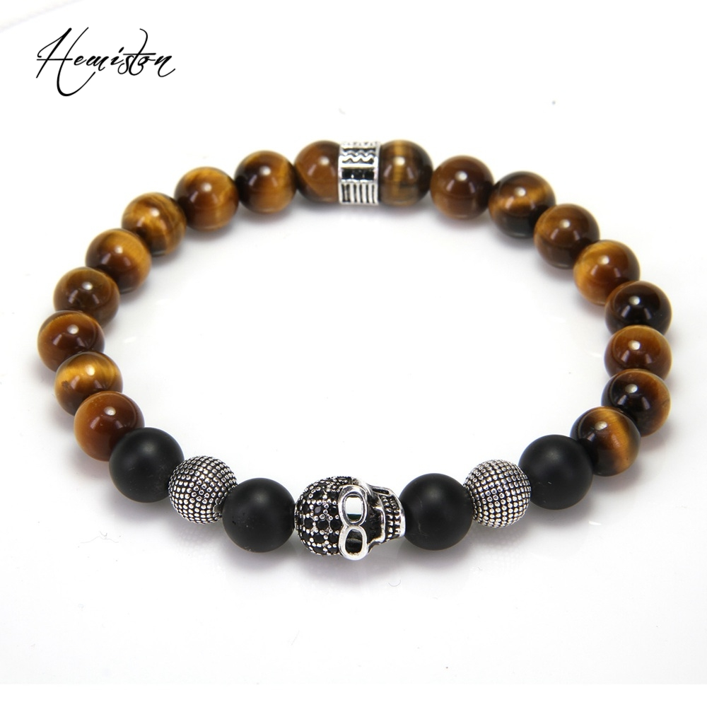 Thomas Tiger Eye Black Obsidian Cross Skull Bead Bracelet, Natural Stone Rebel Heart Style Jewelry For Women and Men TS B436