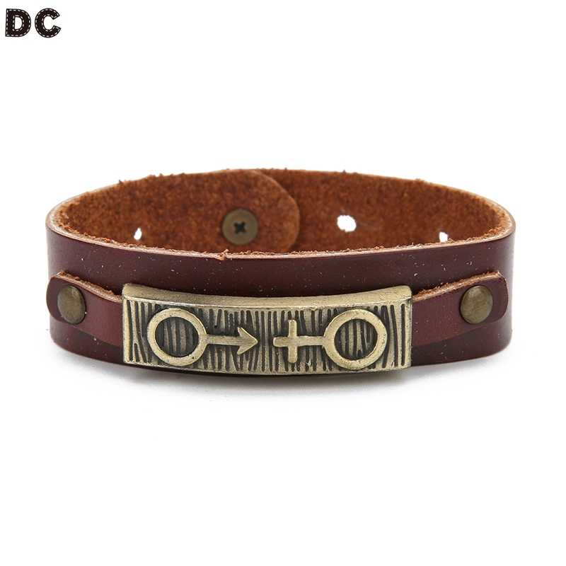 DC Lover Браслеты кожаные панк инкрустированные заклепки женские браслеты мужские браслеты сплав украшения очаровательный подарок на день Святого Валентина Брелок