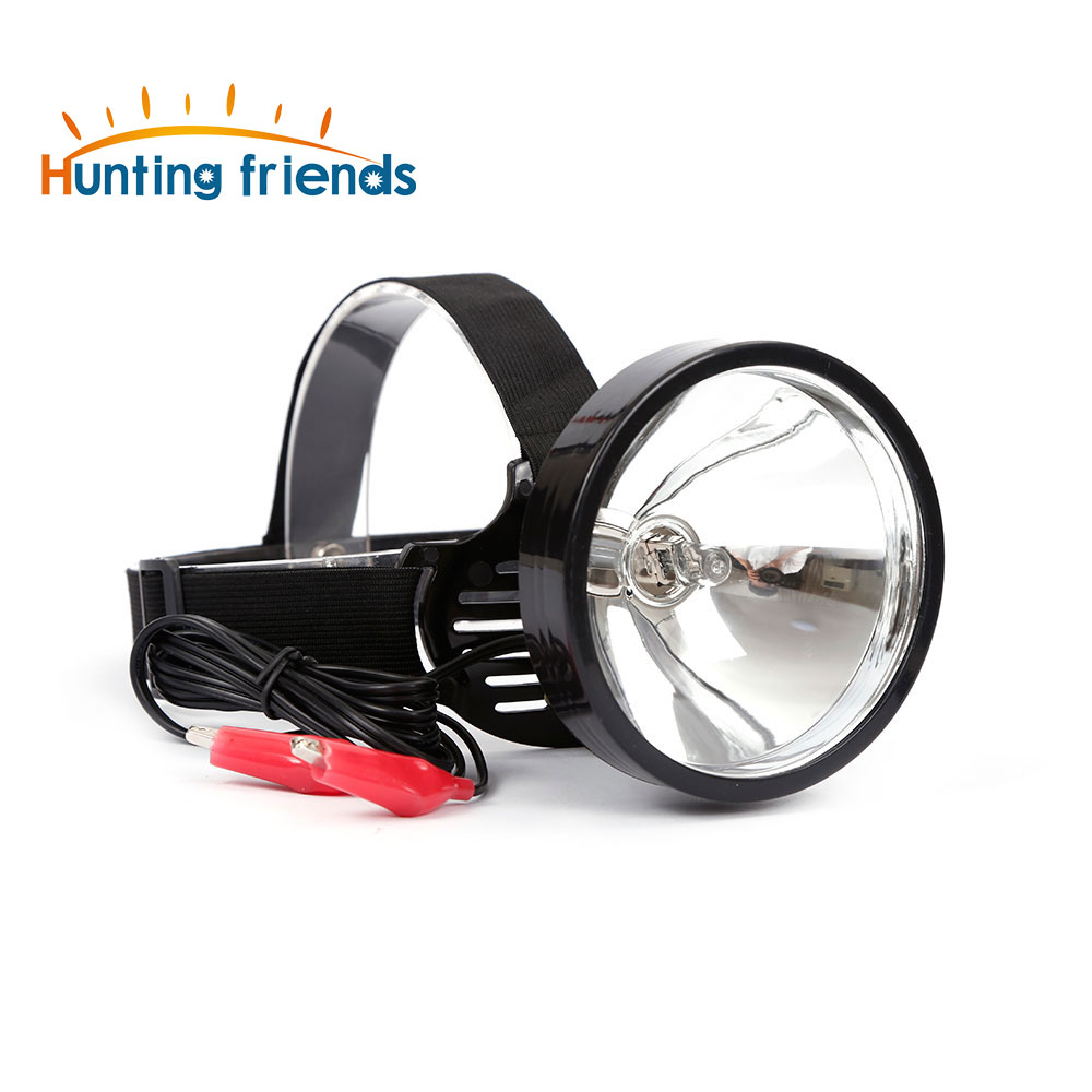 12V Headlamp External Dc Power Headlight Halogen Bulb Head Light Zoom Out Yellow Light Head Touch for Hunting Camping Fishing in Headlamps from Lights Lighting