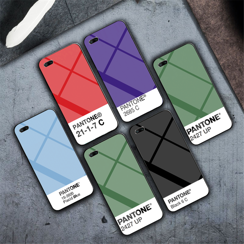 luxury Popular Tempered glass Phone Case for iphone 6 6S 7 8 Plus 5 5s SE X XR XS MAX Newest Pantone Color card
