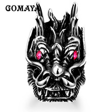 купить GOMAYA Mens Ring Dragon Thumb Ring Men Jewelry Wholesale with Red Rhinestone 316L Stainless Steel Jewelry Bague Anillos Punk дешево