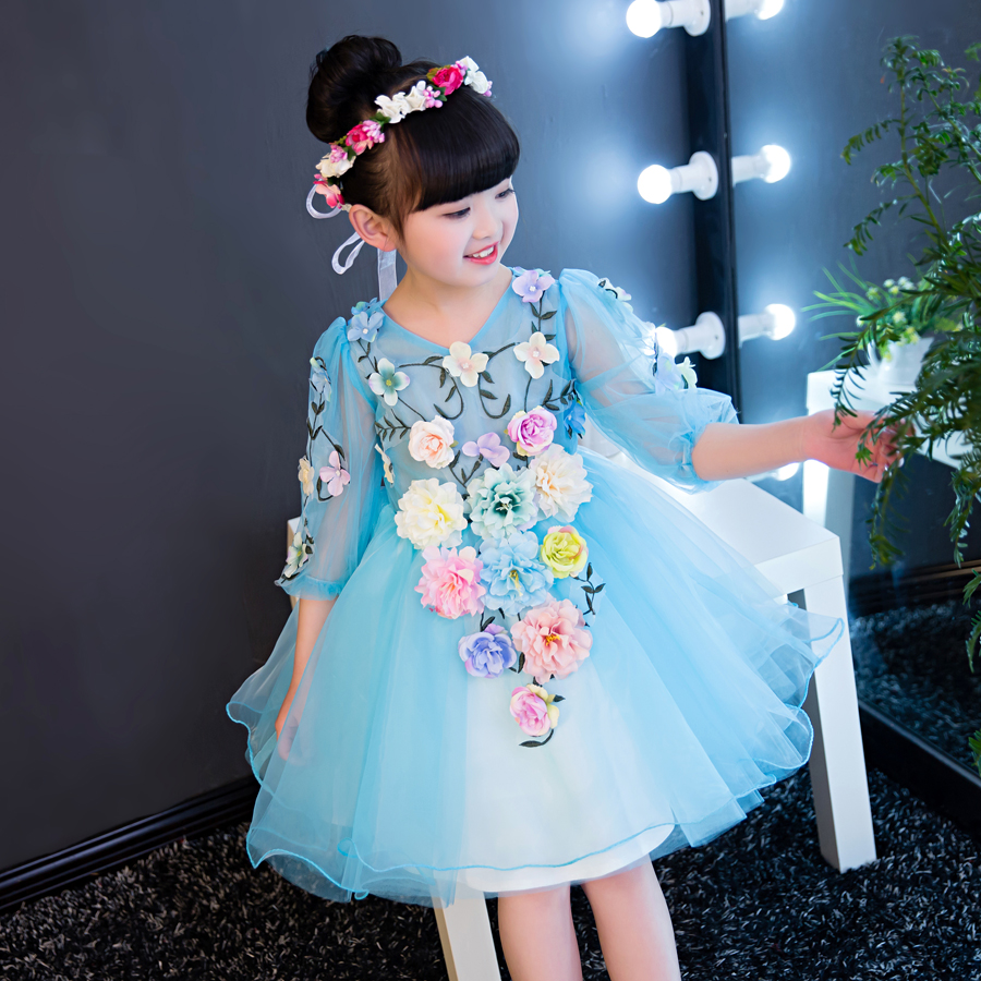 2018 winter luxury lace flower girl dresses appliques kids floral prom wedding dress ball gown girl pageant dress vestidos dress цена 2017