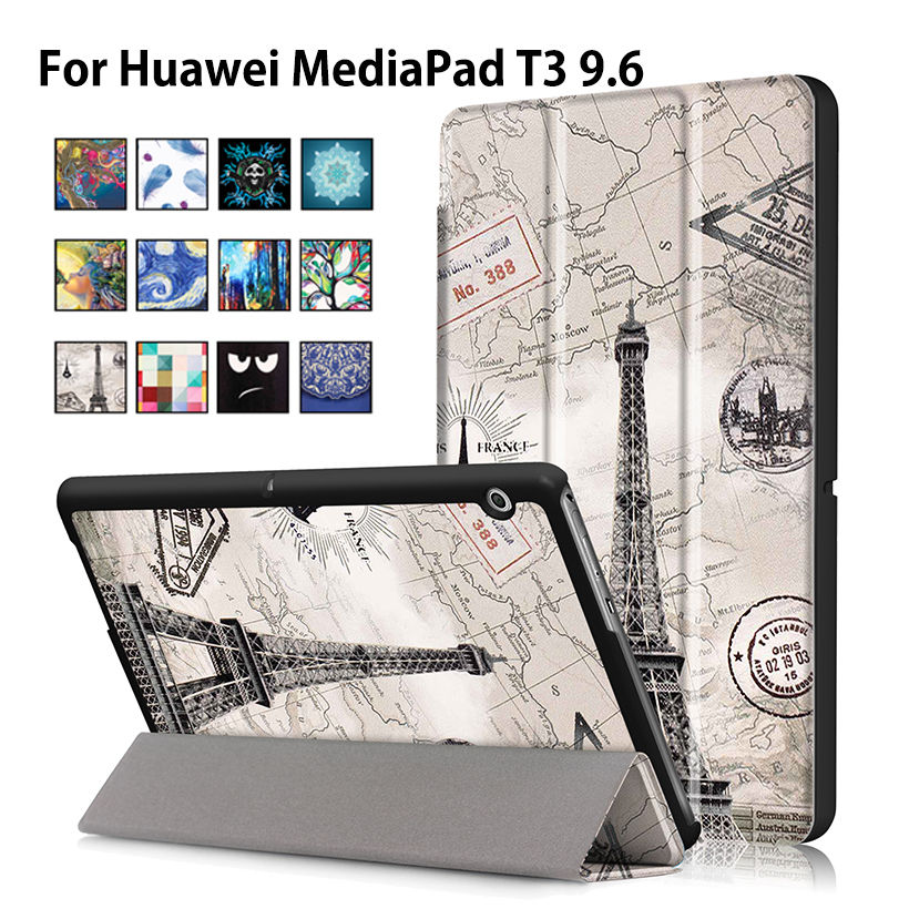Case For Huawei MediaPad T3 10 AGS-L09 AGS-L03 9.6 inch Cover Funda Tablet for Honor Play Pad 2 9.6 Slim Flip PU Case+Film+Pen folio slim cover case for huawei mediapad t3 7 0 bg2 w09 tablet for honor play pad 2 7 0 protective cover skin free gift