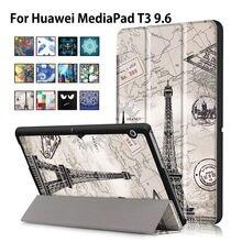 Funda Para Huawei MediaPad T3 10 AGS-L09 AGS-L03 9.6 pulgadas Cubierta Funda Tablet para Honor Juego Pad 2 9.6 Tapa Delgada de LA PU caso + Película + Pluma