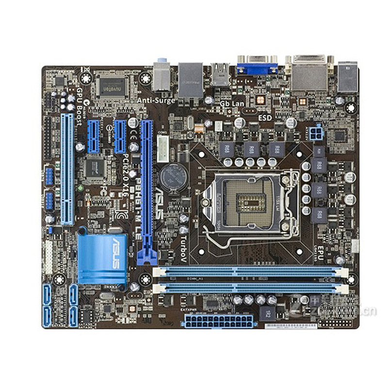 Asus P8H61-M LE Desktop Motherboard H61 Socket LGA 1155 i3 i5 i7 DDR3 16G uATX UEFI BIOS Original Used Mainboard On Sale asus p8b75 m lx desktop motherboard b75 socket lga 1155 i3 i5 i7 ddr3 16g uatx uefi bios original used mainboard on sale