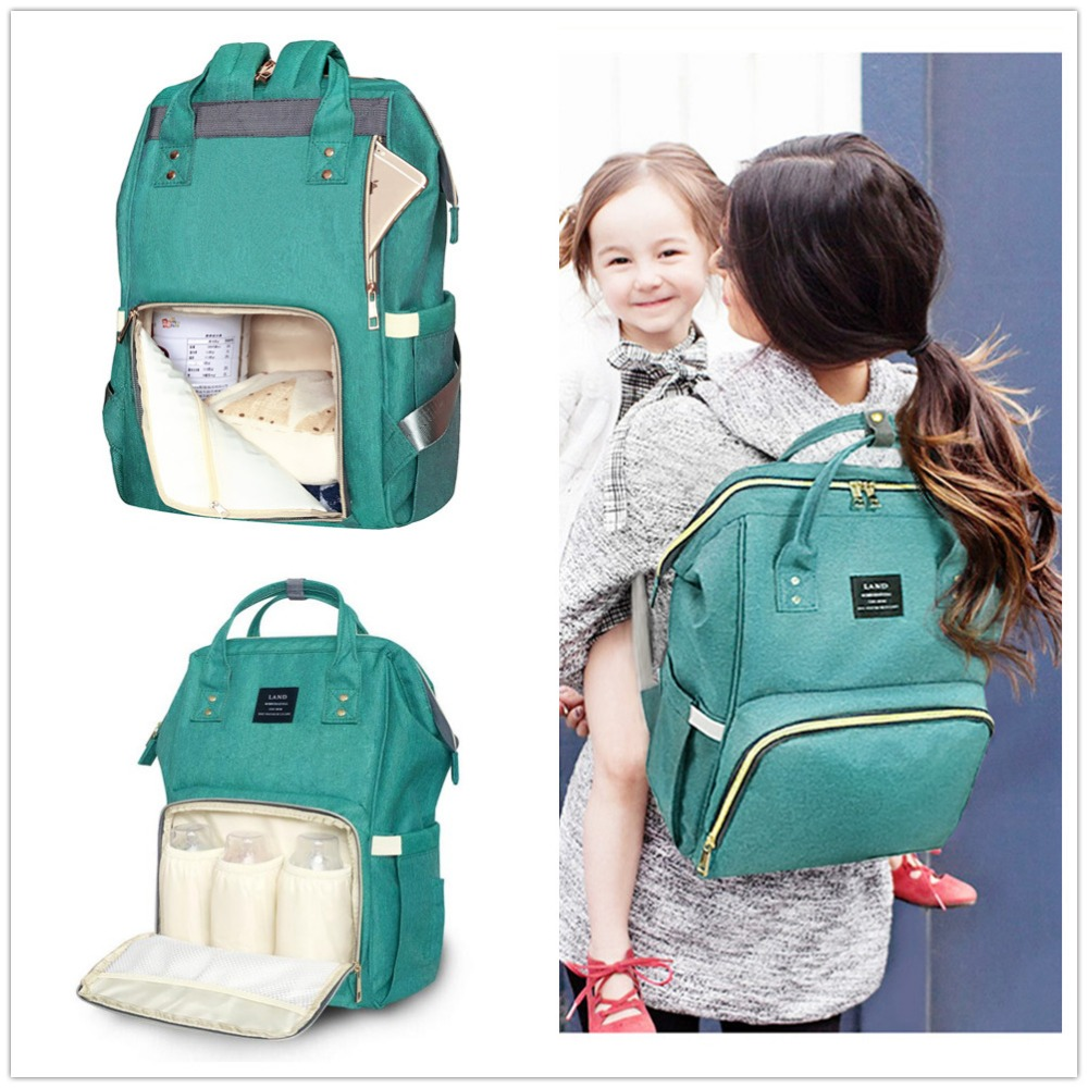 Authentic Land Mommy Diaper Bags Mother Large Capacity Travel Nappy Backpacks With Anti-loss Zipper Baby Nursing Bags 26 Colors