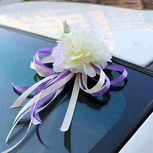 Image 3 - Décoration de porte de mariée, miroir de voiture, ruban de fleurs artificielles, pour fête de mariage, HG99