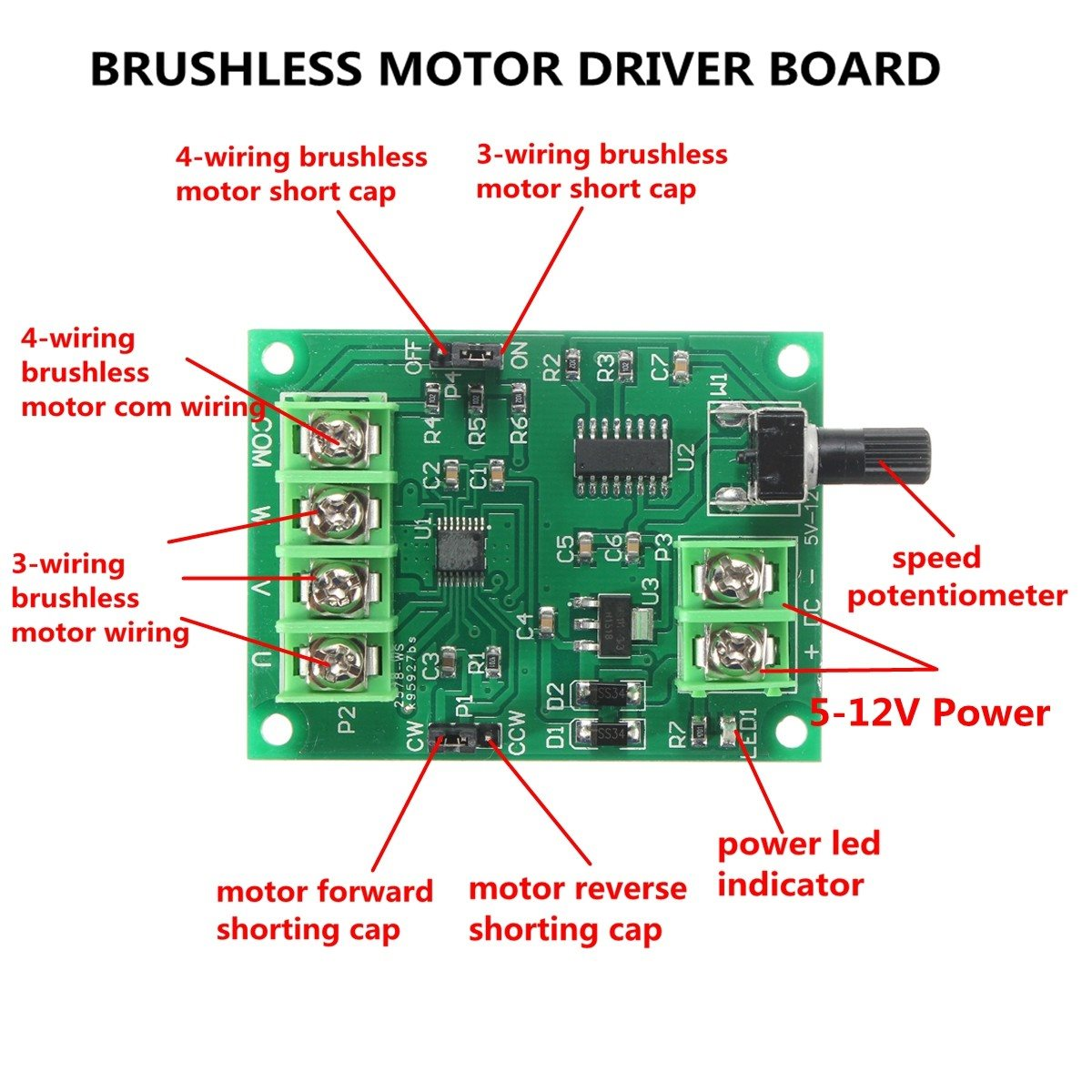 5v 12v Dc Brushless Motor Driver Board Controller For Hard Drive Wiring Diagram 10000rpm 46 X 61mm In Integrated Circuits From Electronic Components Supplies On