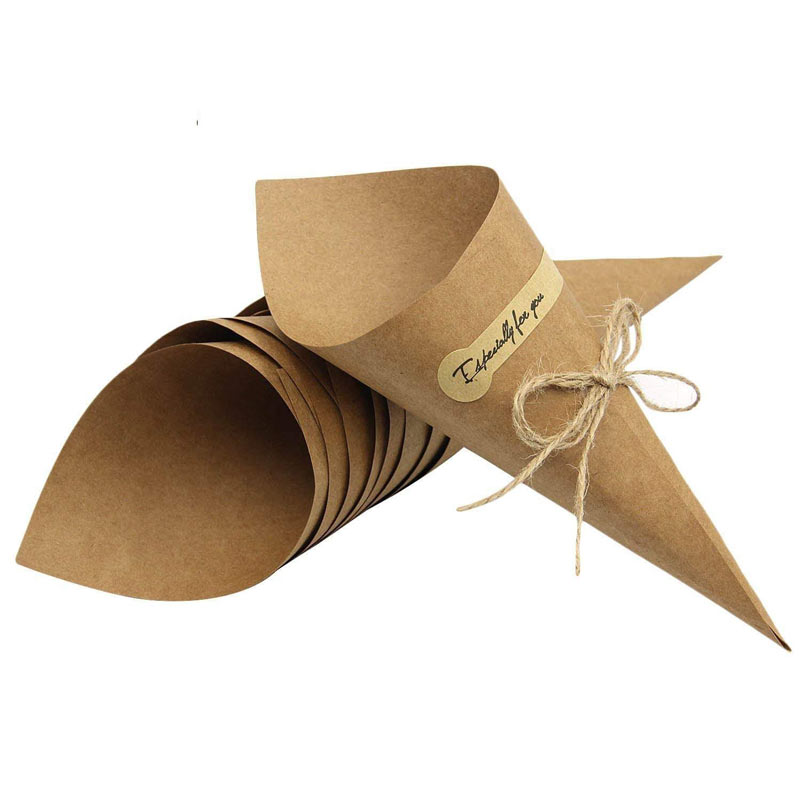 50PcsSet Confetti Cone Bouquet With Hemp Ropes Wedding Diy Decoraion Retro Folding Kraft Paper Gifts Packing Party Supplies (16)