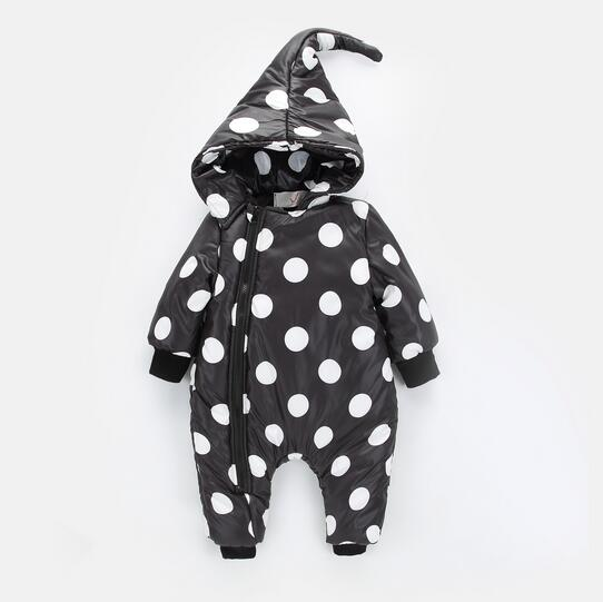 2017 Winter Baby Down Outwear Baby Boy Girl Clothing Set Jumpsuit Newborn Infant Polka Dot Zipper Hooded Cotton-padded Rompers siyubebe winter baby rompers fashion brand cotton fleece ropa bebe infant girl jumpsuit kids clothing newborn baby boy clothing