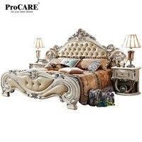 Роскошный европейский и американский стиль мебель королевская серия мебель для спальни набор твердой древесины кожаная кровать