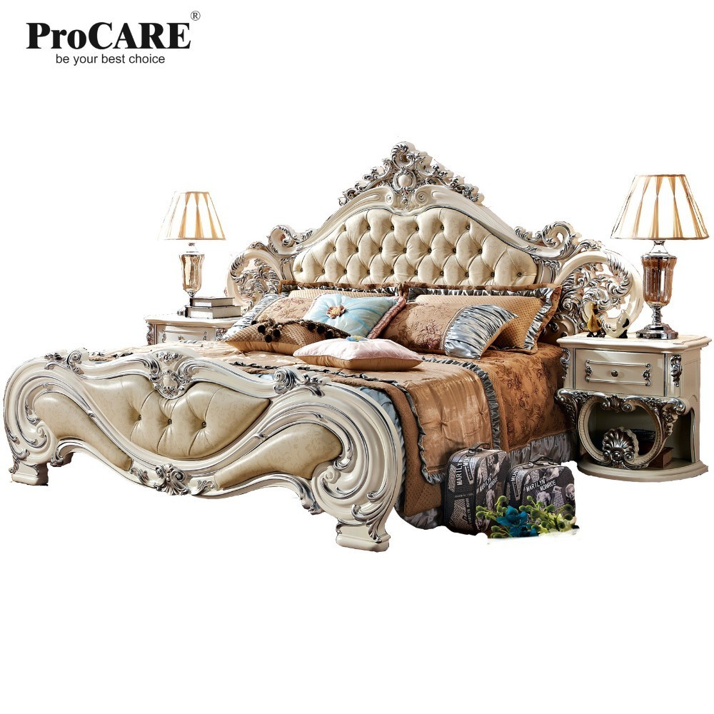 luxury European and American style furniture royal series bedroom furniture set solid wood leather bed royal wood toronto