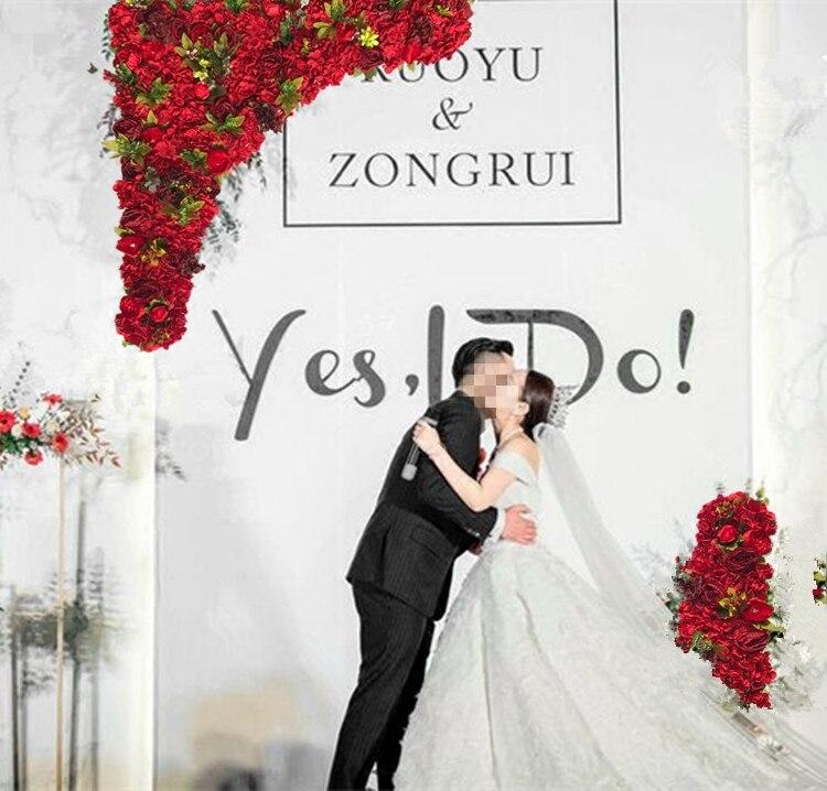 1.2m x 1.2m Red Rose Wedding Flower Wall Artifical Silk Flower Backdrop Wedding Props 2 pcs/lot