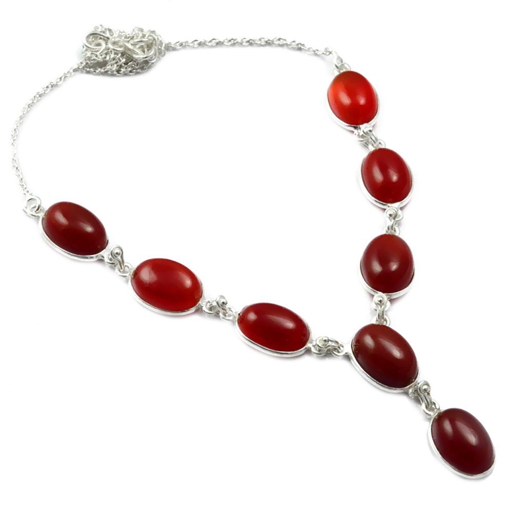 Nature Carnelian  Necklace 925 Sterling Silver, 47.5 cm, MHBNE0089Nature Carnelian  Necklace 925 Sterling Silver, 47.5 cm, MHBNE0089