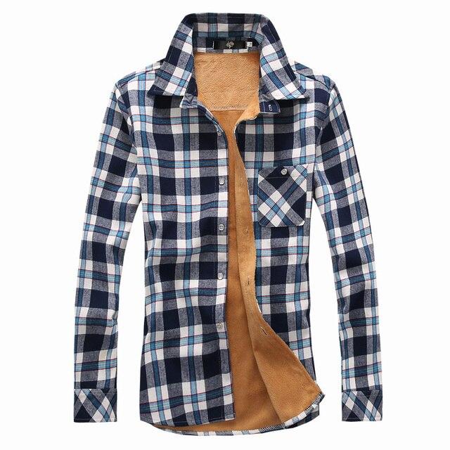 1676521868b6e 2015 nuevo invierno de terciopelo hombres moda camisas con lana a cuadros  camisas de alta calidad