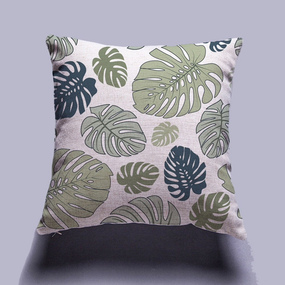 Soft Lint Summer Tropical Jungle Plant Throw Pillow Case Palm Leaves Cushion Cover Black White Geometric Pattern Home Decor